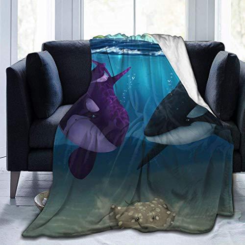 NR Manta de microfibra con diseño de tiburón anime, manta de forro polar ultra suave, funda de cama para dormitorio, sala de estar, sofá, 152 x 127 cm