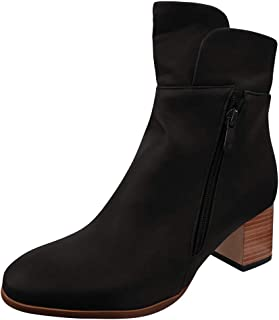 Women's Low Stacked Heel Ankle Riding Booties, LIM&Shop Vintage Chicago Chunky Heel Ankle Boots Zipper Retro Shoes