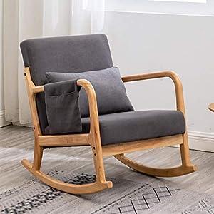 Rocking Chair for Nursery Nursery Chair Modern Rocking Chair Nursery Rocking Chairs with Pillow and Side Storage Pocket (Dark Grey)