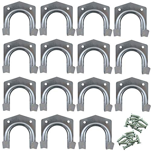 15pk Tool Hooks | Heavy Duty Garage Hooks | Shed Hooks for Garden Tools | Double Hooks Design for Small or Large Items