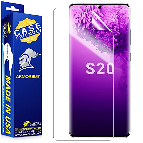 """ArmorSuit MilitaryShield Screen Protector Designed for Samsung Galaxy S20 / Galaxy S20 5G (6.2"""")(Case Friendly) Ultrasonic Fingerprint Compatible Anti-Bubble HD Clear Film"""
