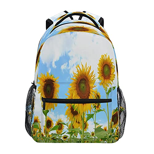 Bingyingne Nature Beautiful Sunflower Laptop Mochila Hombres Durable Ligero Bolso de hombro Viaje Deporte al aire libre Mochila escolar Mochila para mujeres