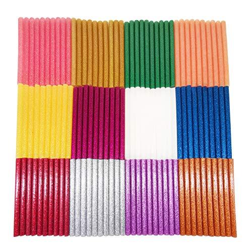 DDSTG 120 Stücke Heißkleber Sticks 7x100mm Populäre Glitzerfarbe für 7mm Heißklebepistole - 12 Farben