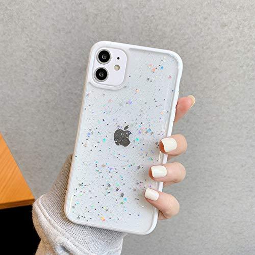 FYMIJJ Estuche para teléfono Bling Glitter Star para iPhone 12 12mini 11 Pro MAX XR XS MAX X 7 8 Plus Estuches Transparentes de Silicona Suave con Lentejuelas, Blanco, paraiPhone 8