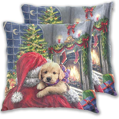 Mr.Brilliant 2 Pack Throw Pillow Covers Santa Claus Dog Cotton Soft Pillow Cases for Sofa Chair Car Christmas Oil Painting Decorative Outdoor Indoor 16 x 16 inches 2060672