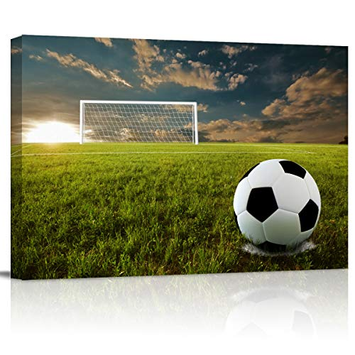 Canvas Wall Art - Close Up of Soccer Ball on Soccer Field - Modern Wall Decor Gallery Canvas Wraps Giclee Print Stretched and Framed Ready to Hang - 12' x 16'