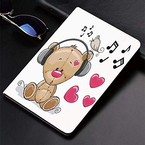 Case for iPad (9.7-Inch, 2018/2017 Model, 6th/5th Generation)Ultra Slim Lightweight Smart Cover,Music Decor,Cute Cartoon Teddy Bear with Headphones Twitting Singing Bird H,Smart Covers Auto Wake/Sleep