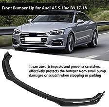 Qiilu Car Front Bumper Canard Lip Splitter Body Shovels Fit for Audi A5 S-Line B9 17-18 Carbon Fiber
