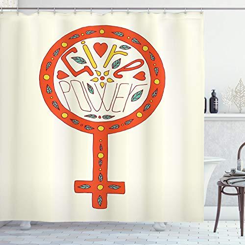 ABAKUHAUS Feminist Duschvorhang, Gekritzel Venus Symbol, mit 12 Ringe Set Wasserdicht Stielvoll Modern Farbfest und Schimmel Resistent, 175x220 cm, Mehrfarbig