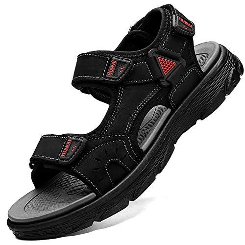 Lvptsh Sandali Sportivi Uomo Sandali de Passeggio Estivi All'aperto Escursionismo Trekking Sandals Pelle Casual Traspirante Spiaggia Sandaletti,Nero 1,EU43