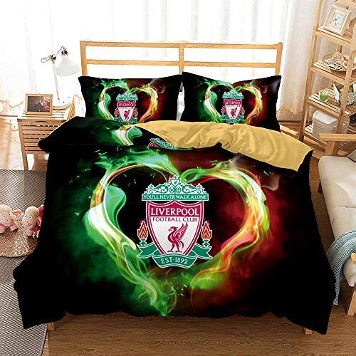 Qingxsm Duvet Cover double bed 200 x 200 cm with 2 Pillow Cases 50 x75 cm Microfiber Bedding Quilt Cover Set with Zipper Closure Liverpool Football Club printing Duvet Cover Set