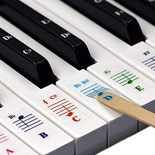 Piano Stickers, Piano Keyboard Stickers for Key, Transparent Removable Large Letter Piano Stickers Beginners Piano Keyboard Stickers Full Set Black&White Keys for 49/61/76/88 Keyboards