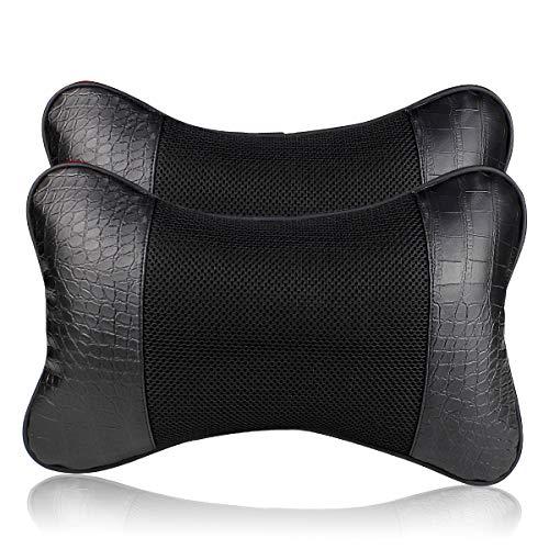 YIHO 2 Paquetes Almohada para el Reposacabezas para Coche -Cojín Cervical con Soporte de Cuello para el Conducir Asiento,Negro