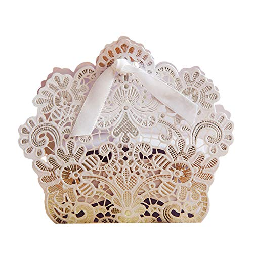 PONATIA 50 PCS Laser Cut With Ribbon Wedding Party Favor, Wedding Gift Bags Chocolate Candy and Gift Boxes (White)