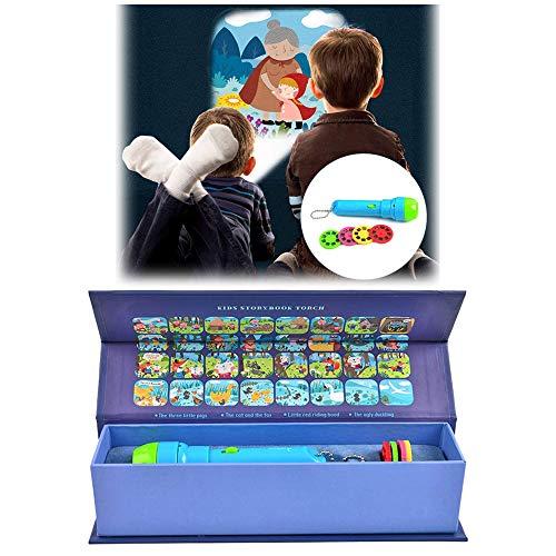 Animatey Spielzeug Projektor Taschenlampe, Kindertaschenlampe, Geschichte Projektion Fackel, Kinder Projektionslampe, mit 4 Märchen 32 Folien, Lernspielzeug, Geschenk zum ab 3 jahren, Jungen, Mädchen