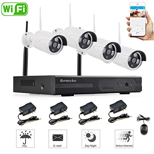 Borntechsz 4ch WiFi dvr kit 1.3mp Outdoor 4Channels Wireless WiFi NVR Suit Kit HD IR 960P WiFi IP Camera P2P CCTV Security System