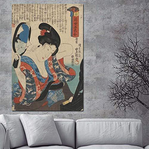 Hllhpc (zonder lijst) Japanse schilderijen, klassieke prints en posters, wandschilderij, portret, Kimono voor dames, schilderijen met Japanse olieverfschilderij, canvas, decoratie voor de slaapkamer