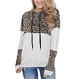 Otoño Casual Mujer Sudaderas con Capucha Cordón Suelto Manga Larga Estampado de Leopardo Sudaderas con...