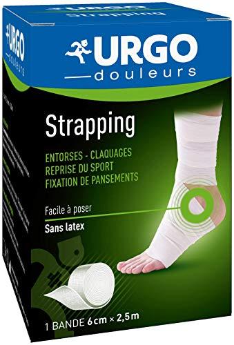 Urgo - Strapping - Bande élastique adhésive - Contention / Fixation de pansements - 1 bande 2,5mx6cm