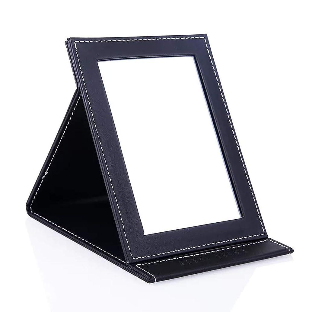 分発生する持っているMiaoma 化粧鏡 手鏡 折りたたみ式 卓上スタンドミラ ー PUレザー 持ち運び便利 収納 L …