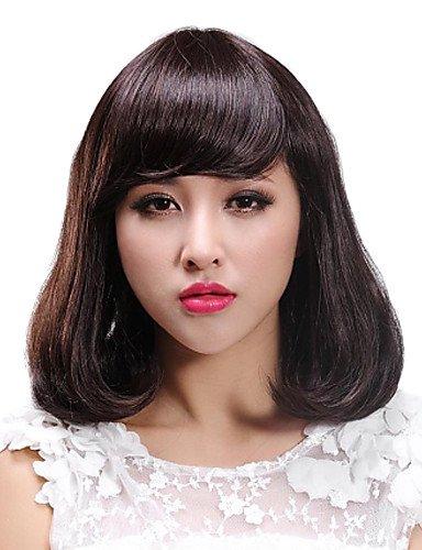 ahom parrucca nobile moda capelli Side Bang Fix Faccia parrucca corta
