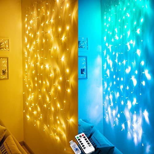 Lichterketten Vorhang Lichterkette Lichtervorhang Innen Warmweiß Lichterkette Vorhang Bunt Blau für Schlafzimmer...