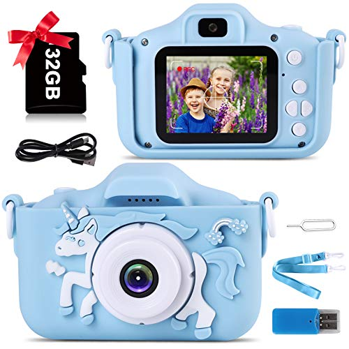 Kids Camera, Unicorn Toddler Camera for Boys, 1080P HD Digital Child Camera Toy with 2Inch Screen, 20MP and 32G SD Card, Best Birthday Gift for 3 4 5 6 7 8 9 Years Old Boys