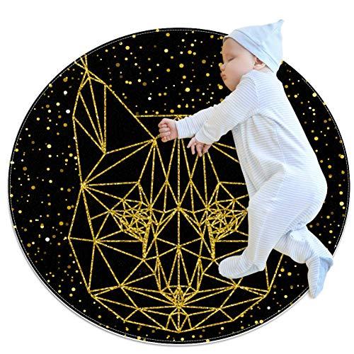 rogueDIV Abstract Lynx Baby kruipmat spelen deken vloer play mat kinderen baby kinderen mobiele circulaire tapijt, 27.6x27.6IN