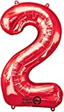 amscan NEU Folienballon Große Zahl 2 rot, 53x88 cm