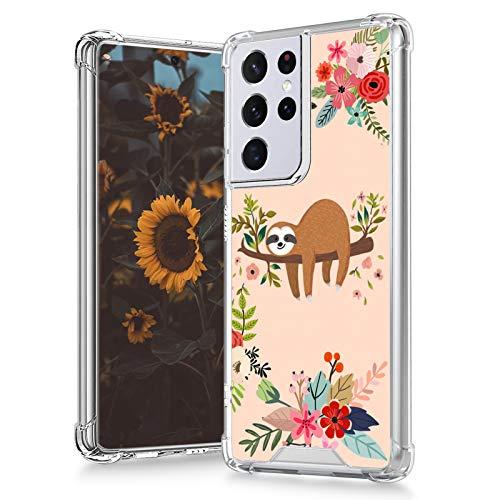 MOWIME Samsung Galaxy S21 Ultra 5G Case (2021) 6.8 Inch Clear Sloth Flower Design 4 Air-Guard Corners Shockproof Anti-Fall Slim Fit Soft Edges Thin Hard PC + Flexible TPU Frame for Women Girls Man