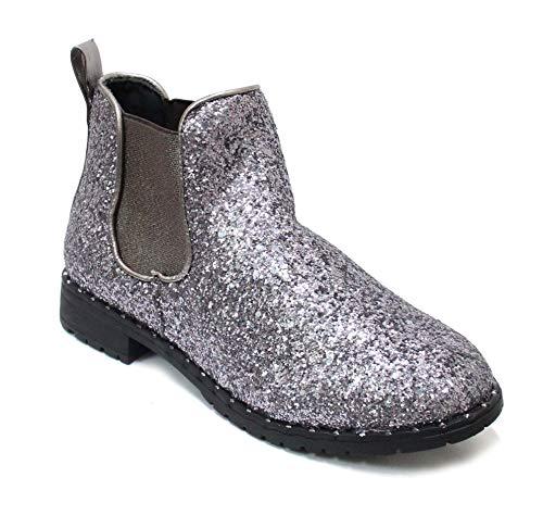 H2K Damen Stiefeletten Kurz Slip On Chelsea Mode Glitzer Stiefel Schuhe Accent, (zinnfarben), 37 EU
