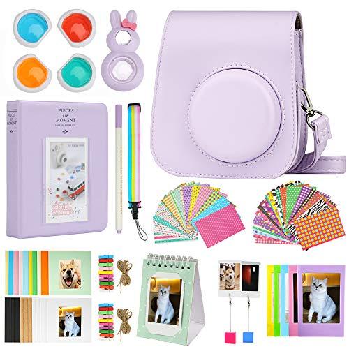Cpano Mini 11 Kamerazubehör-Bundles für FujiFilm Instax Mini 11 mit Kameratasche/Buchalbum/Selfie Len/Wandbehangrahmen/Aufkleber/Stift (13 in 1) (Lila)