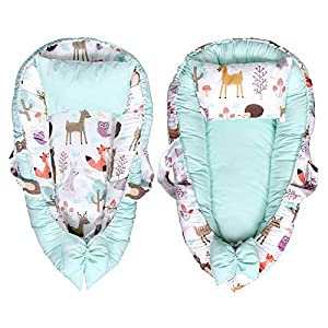 Cutelions Baby Lounger Double-Sided Nest with Pillow Adjustable Newborn Infant Co-Sleeping 100% Poplin Cotton Bed Soft Breathable Snuggle Non-Allergic Portable Crib-Suitable Bassinet (Happy Forest)