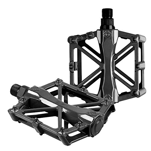 Bike pedals - Mountain Bike Pedals - Aluminum CNC Bearing Bicycle Pedals - Road Bike Pedals with 16 Anti-skid Pins - Lightweight Platform Pedals - 9/16' Spindle Bike Pedal for BMX/MTB Bike Black