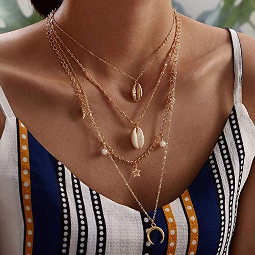 Jovono meerlagige Shell en Parel Hanger Kettingen Mode Choker Pentagram Maan Ketting Sieraden voor Vrouwen en Meisjes