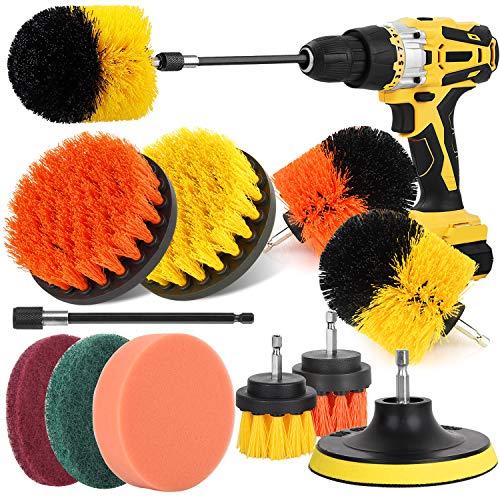 Drill Brush Power Scrubber Brush Set, Herrfilk Drill Brush Attachment Set with Extend Attachment and Scrub Pads Sponge, Drill Bit Scrub Brush for Cleaning Grout, Car,Tiles, Sinks, Bathtub