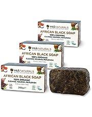 PraNaturals 100% biologische rauwe Afrikaanse zwarte zeep 3x 200g, ethisch geproduceerd en handgemaakt in Ghana, voor alle huidtypen, veganistisch, onbewerkt