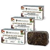 PraNaturals Organisch Afrikanische Schwarze Seife 200g, Vegan Kosmetik, Für Alle Hauttypen,...