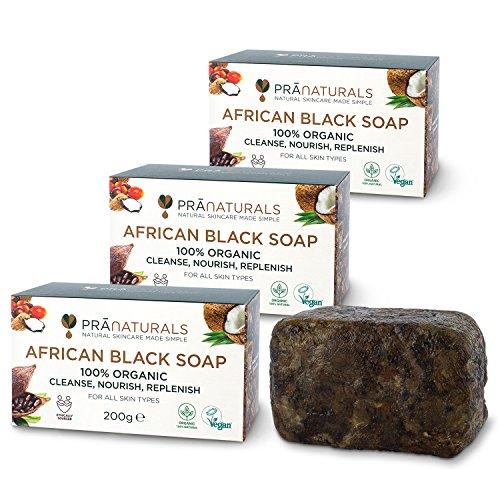 PraNaturals Organisch Afrikanische Schwarze Seife 3 x 200g, Vegan Kosmetik, Für Alle Hauttypen, Handgefertigt Im Tropischen Ghana, Natürliche Behandlung für die Haut und Gesicht
