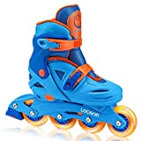 Locavun Adjustable Light up Inline Skates for Kids, Hard Shell Roller Blades for Girls and Boys (Blue, Small - (US 8C-11C))