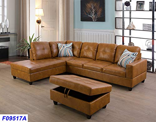 Lifestyle Furniture Left Facing 3PC Sectional Sofa Set,Faux Leather,Ginger(LSF09517A)