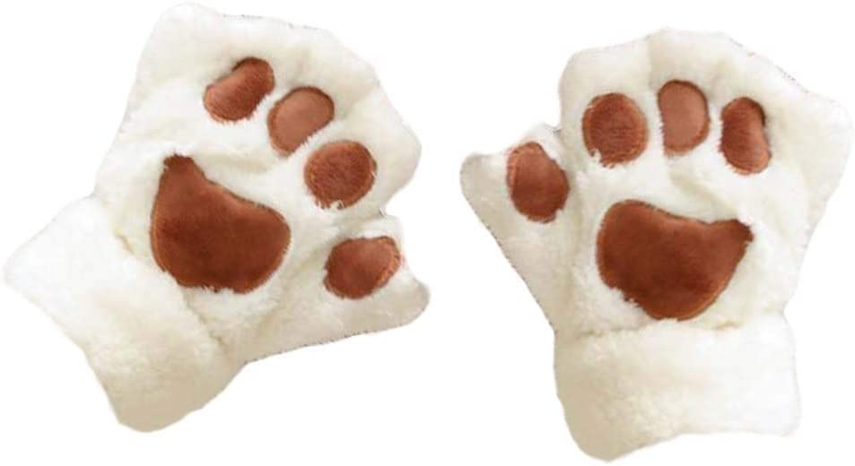 Panda Legends 1 Pair Plush Cat Paw Design Half-Finger Gloves Women's Winter Gloves Warm Mittens with Flip Cover, Beige
