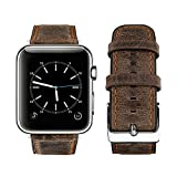 top4cus Compatible with 42mm/44mm Genuine Leather Band iwatch Strap Apple Watch Series 6 Series SE Series 5 Series 4 Series 3/2/1 and Sport Edition, Stainless Metal Clasp (42mm, Retro Brown)