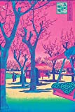 Cherry Blossoms Vaporwave Aesthetic Japanese Woodblock Art Pink Cool Psychedelic Trippy Hippie Decor UV Light Reactive Black Light Eco Blacklight Poster for Room