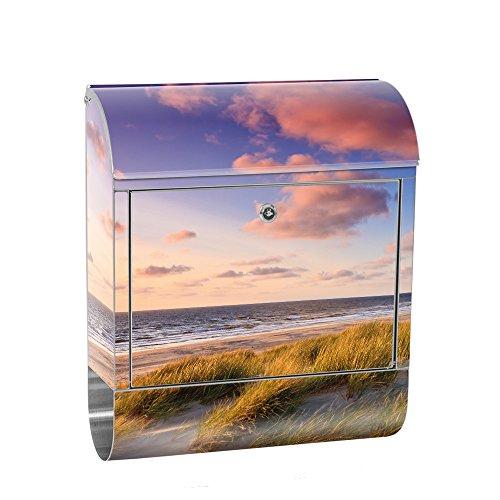 liwwing Briefkasten Edelstahl mit Motiv und Zeitungsfach, Zeitungsrolle als XXL Design Wandbriefkasten   Strand Düne Sonnenuntergang Beach Sand   no. 0245