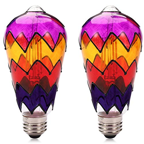 Farbglas LED Glühbirne, E27 Basis 2700k Leuchtglühlampe, nicht dimmbar, geeignet für Familienzusammenführung, Garten, Restaurant, Festivaldekoration Birne (2 pack ) (ST64-LAMPEN)
