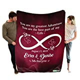 Stylish Gears Infinite Love Custom Couple Blanket with Names Date and Family Surname, Birthday Wedding Anniversary Valentine's Day Presents (Size- 60' x 80') (Infinity Dark Red)