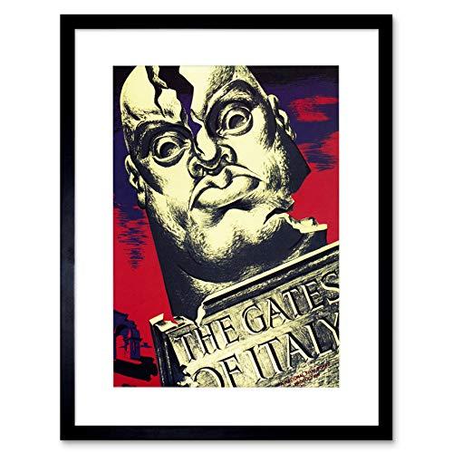Wee Blue Coo Propaganda Oorlog Tweede Wereldoorlog Canada Film Poorten Italië Mussolini ingelijst muur Art Print