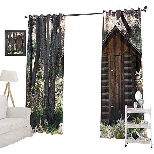 YUAZHOQI - Cortinas para ventana (132 x 213 cm), diseño de hojas de árboles, color gris claro y verde helecho