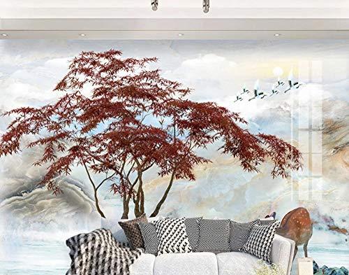 QAQB 3D-Fototapete Wandtapeten Chinese Berg-Wasser-Landschaft Wohnzimmer Schlafzimmer Backpapier 3.5m * 2.5m